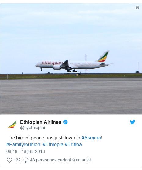 Twitter publication par @flyethiopian: The bird of peace has just flown to #Asmara! #Familyreunion  #Ethiopia #Eritrea