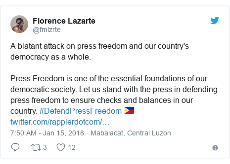 Twitter post by @fmlzrte: A blatant attack on press freedom and our country's democracy as a whole. Press Freedom is one of the essential foundations of our democratic society. Let us stand with the press in defending press freedom to ensure checks and balances in our country. #DefendPressFreedom 🇵🇭