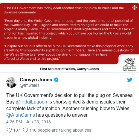 Twitter post by @fmwales: The UK Government's decision to pull the plug on Swansea Bay @TidalLagoon is short-sighted & demonstrates their complete lack of ambition. Another crushing blow to Wales. @AlunCairns has questions to answer.
