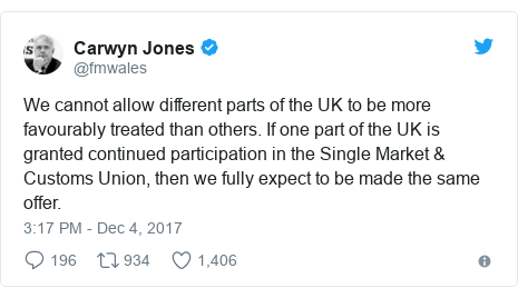 Twitter post by @fmwales: We cannot allow different parts of the UK to be more favourably treated than others. If one part of the UK is granted continued participation in the Single Market & Customs Union, then we fully expect to be made the same offer.