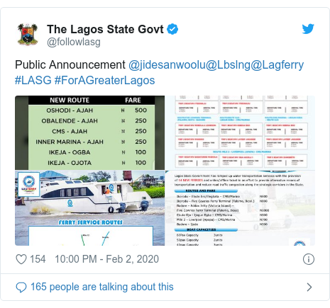 Twitter post by @followlasg: Public Announcement @jidesanwoolu@Lbslng@Lagferry #LASG #ForAGreaterLagos