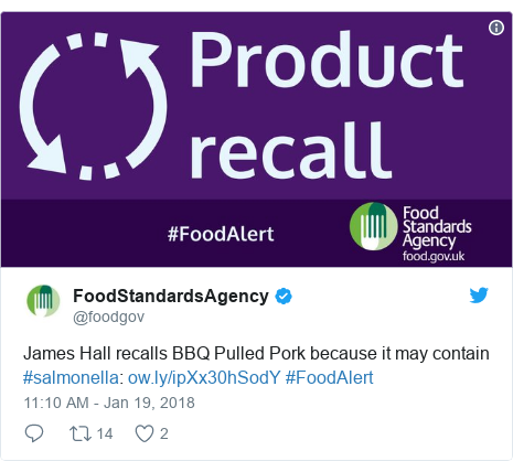 Twitter post by @foodgov: James Hall recalls BBQ Pulled Pork because it may contain #salmonella   #FoodAlert