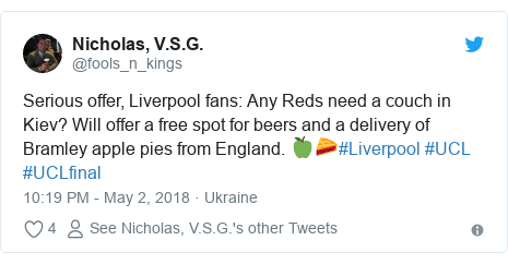 Twitter post by @fools_n_kings: Serious offer, Liverpool fans  Any Reds need a couch in Kiev? Will offer a free spot for beers and a delivery of Bramley apple pies from England. 🍏🥧#Liverpool #UCL #UCLfinal
