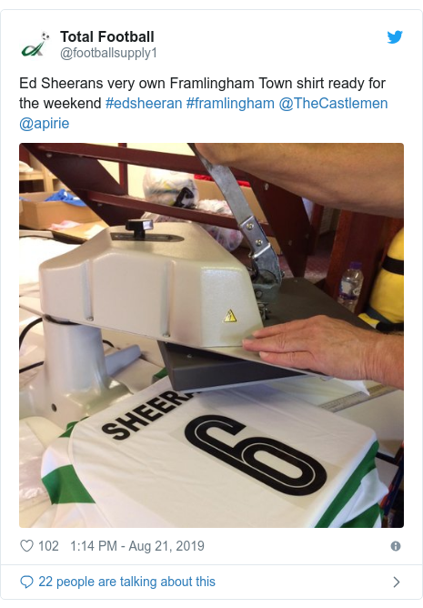 Twitter post by @footballsupply1: Ed Sheerans very own Framlingham Town shirt ready for the weekend #edsheeran #framlingham @TheCastlemen @apirie
