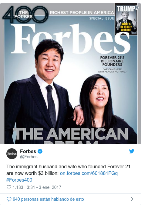 Publicación de Twitter por @Forbes: The immigrant husband and wife who founded Forever 21 are now worth $3 billion   #Forbes400