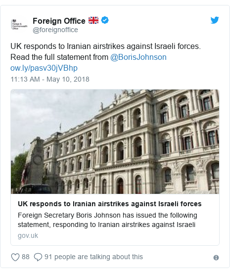 Twitter post by @foreignoffice: UK responds to Iranian airstrikes against Israeli forces. Read the full statement from @BorisJohnson