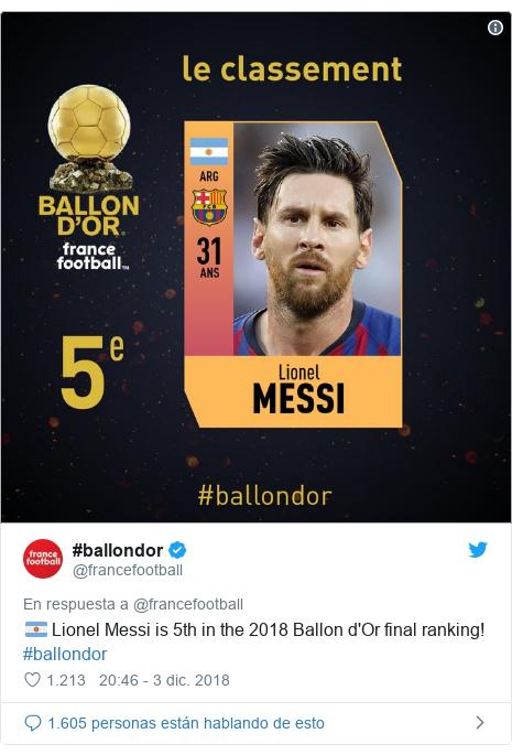 Publicación de Twitter por @francefootball: 🇦🇷 Lionel Messi is 5th in the 2018 Ballon d'Or final ranking! #ballondor