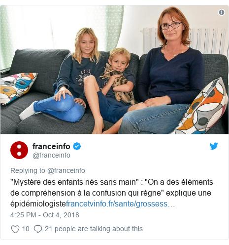 """Twitter post by @franceinfo: """"Mystère des enfants nés sans main""""   """"On a des éléments de compréhension à la confusion qui règne"""" explique une épidémiologiste"""