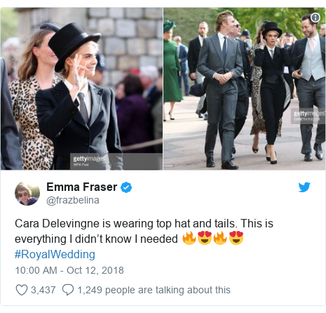 Twitter post by @frazbelina: Cara Delevingne is wearing top hat and tails. This is everything I didn't know I needed 🔥😍🔥😍 #RoyalWedding