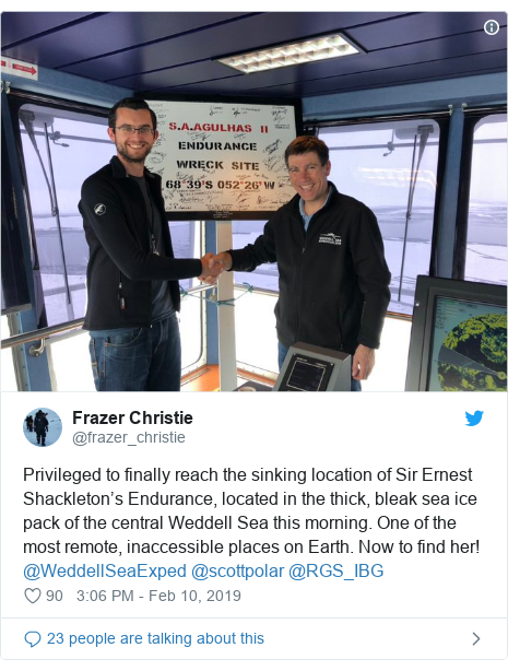 Twitter post by @frazer_christie: Privileged to finally reach the sinking location of Sir Ernest Shackleton's Endurance, located in the thick, bleak sea ice pack of the central Weddell Sea this morning. One of the most remote, inaccessible places on Earth. Now to find her! @WeddellSeaExped @scottpolar @RGS_IBG