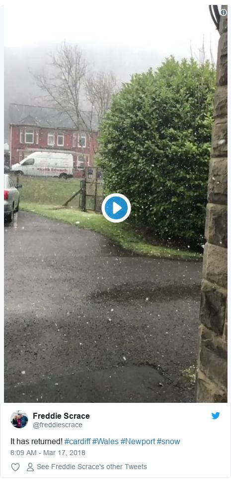 Twitter post by @freddiescrace: It has returned! #cardiff #Wales #Newport #snow