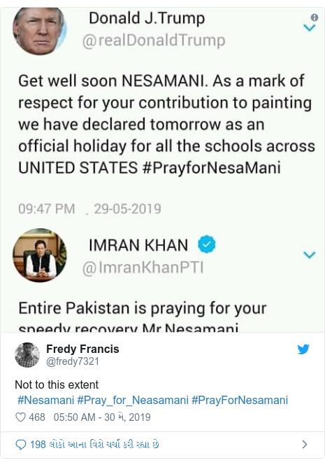 Twitter post by @fredy7321: Not to this extent #Nesamani #Pray_for_Neasamani #PrayForNesamani
