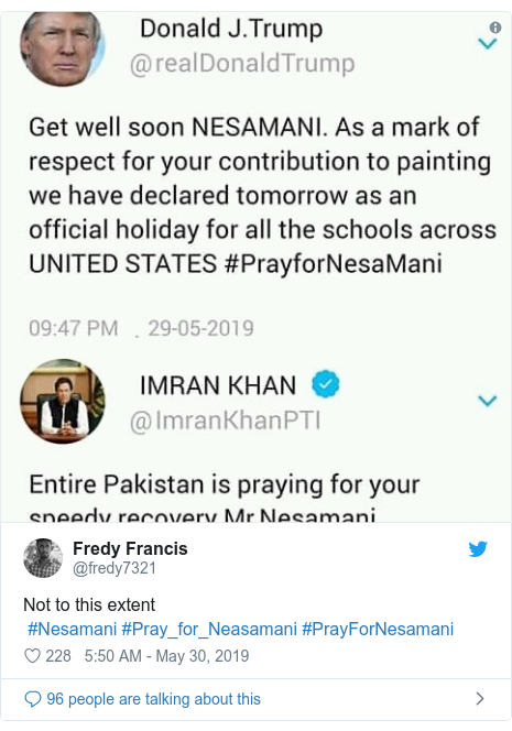Twitter post by @fredy7321: Not to this extent #Nesamani #Pray_for_Neasamani #PrayForNesamani