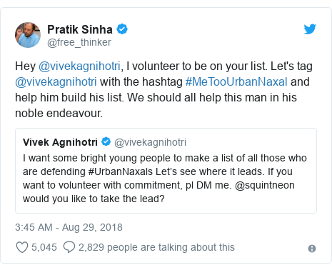 Twitter post by @free_thinker: Hey @vivekagnihotri, I volunteer to be on your list. Let's tag @vivekagnihotri with the hashtag #MeTooUrbanNaxal and help him build his list. We should all help this man in his noble endeavour.