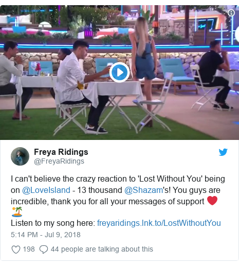 Twitter post by @FreyaRidings: I can't believe the crazy reaction to 'Lost Without You' being on @LoveIsland - 13 thousand @Shazam's! You guys are incredible, thank you for all your messages of support ❤️🏝Listen to my song here