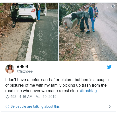 Twitter post by @frizhbee: I don't have a before-and-after picture, but here's a couple of pictures of me with my family picking up trash from the road side whenever we made a rest stop. #trashtag