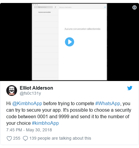 Twitter post by @fs0c131y: Hi @KimbhoApp before trying to compete #WhatsApp, you can try to secure your app. It's possible to choose a security code between 0001 and 9999 and send it to the number of your choice #kimbhoApp