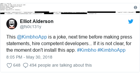 Twitter post by @fs0c131y: This @KimbhoApp is a joke, next time before making press statements, hire competent developers... If it is not clear, for the moment don't install this app. #Kimbho #KimbhoApp