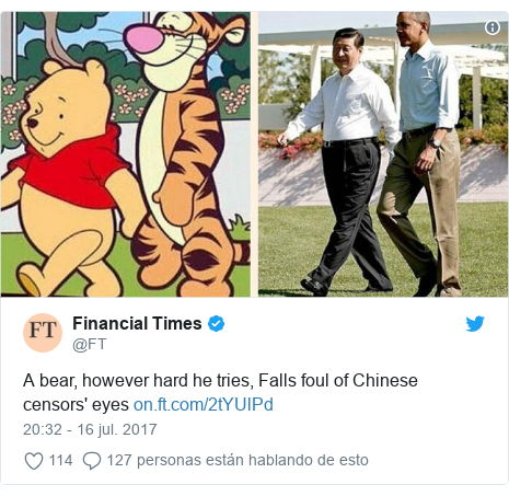 Publicación de Twitter por @FT: A bear, however hard he tries, Falls foul of Chinese censors' eyes