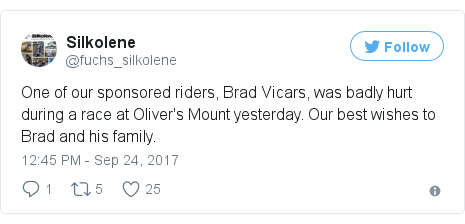 Twitter post by @fuchs_silkolene: One of our sponsored riders, Brad Vicars, was badly hurt during a race at Oliver's Mount yesterday. Our best wishes to Brad and his family.