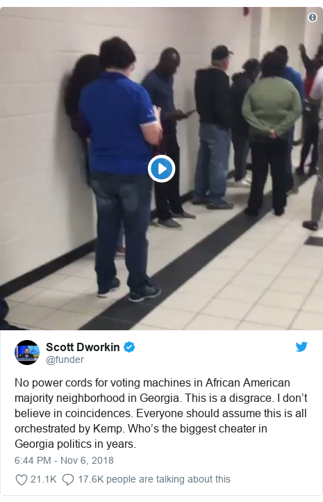 Twitter post by @funder: No power cords for voting machines in African American majority neighborhood in Georgia. This is a disgrace. I don't believe in coincidences. Everyone should assume this is all orchestrated by Kemp. Who's the biggest cheater in Georgia politics in years.