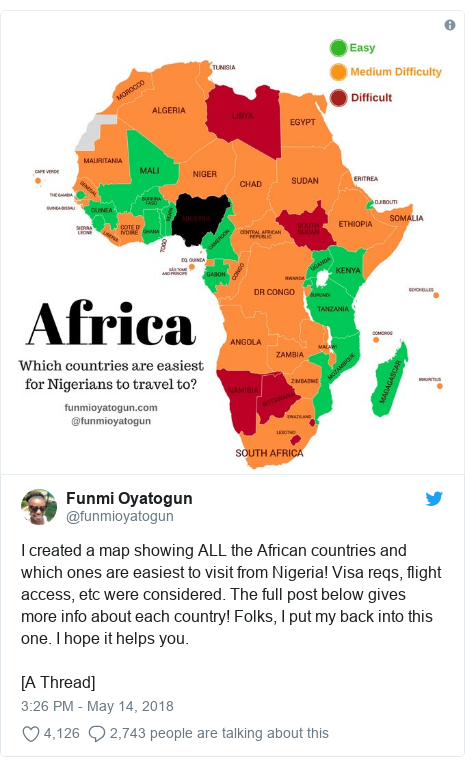 Twitter post by @funmioyatogun: I created a map showing ALL the African countries and which ones are easiest to visit from Nigeria! Visa reqs, flight access, etc were considered. The full post below gives more info about each country! Folks, I put my back into this one. I hope it helps you.[A Thread]