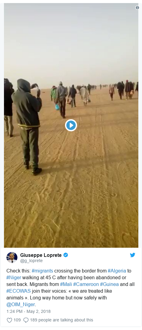 Twitter post by @g_loprete: Check this  #migrants crossing the border from #Algeria to #Niger walking at 45 C after having been abandoned or sent back. Migrants from #Mali #Cameroon #Guinea and all #ECOWAS join their voices  « we are treated like animals ». Long way home but now safely with @OIM_Niger.