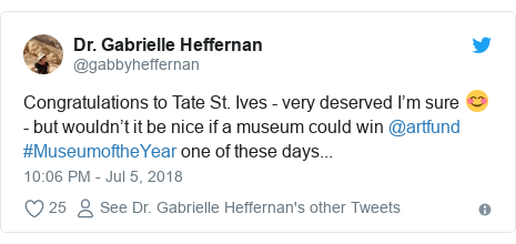 Twitter post by @gabbyheffernan: Congratulations to Tate St. Ives - very deserved I'm sure 😊 - but wouldn't it be nice if a museum could win @artfund #MuseumoftheYear one of these days...