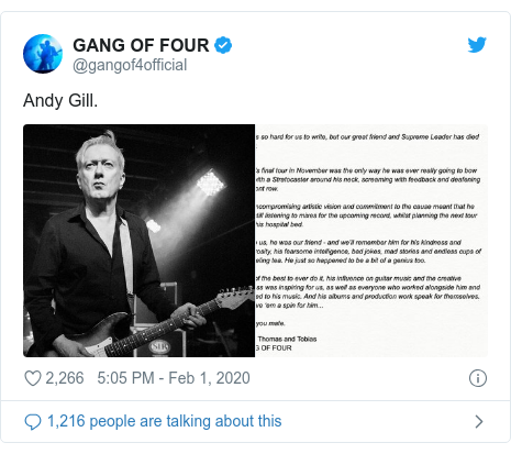 Twitter post by @gangof4official: Andy Gill.