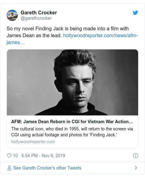 Twitter post by @garethcrocker: So my novel Finding Jack is being made into a film with James Dean as the lead.