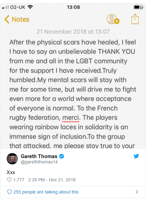 Twitter post by @gareththomas14: Xxx