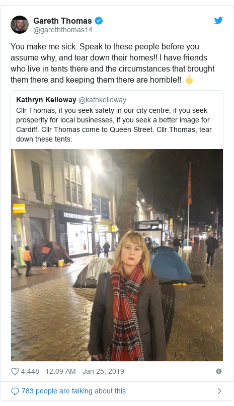Twitter post by @gareththomas14: You make me sick. Speak to these people before you assume why, and tear down their homes!! I have friends who live in tents there and the circumstances that brought them there and keeping them there are horrible!! 🖕