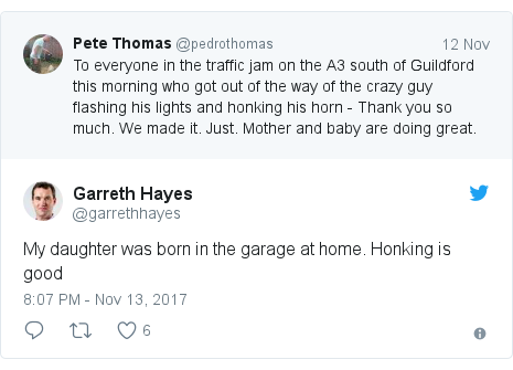 Twitter post by @garrethhayes: My daughter was born in the garage at home. Honking is good