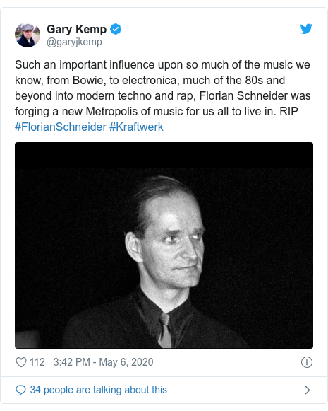 Twitter post by @garyjkemp: Such an important influence upon so much of the music we know, from Bowie, to electronica, much of the 80s and beyond into modern techno and rap, Florian Schneider was forging a new Metropolis of music for us all to live in. RIP #FlorianSchneider #Kraftwerk