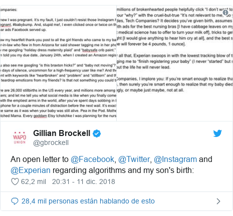 Publicación de Twitter por @gbrockell: An open letter to @Facebook, @Twitter, @Instagram and @Experian regarding algorithms and my son's birth