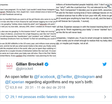 Twitter post de @gbrockell: An open letter to @Facebook, @Twitter, @Instagram and @Experian regarding algorithms and my son's birth