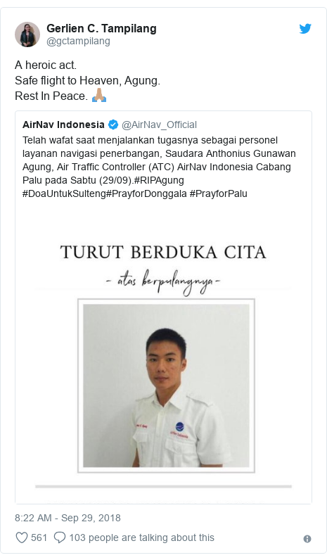 Twitter post by @gctampilang: A heroic act.Safe flight to Heaven, Agung.Rest In Peace. 🙏🏽