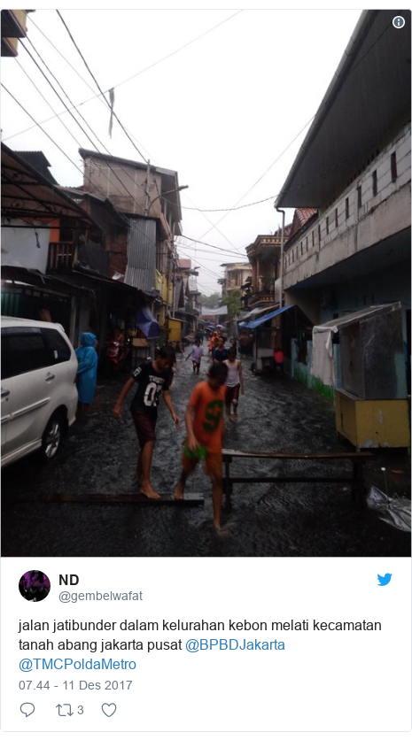 Twitter pesan oleh @gembelwafat: jalan jatibunder dalam kelurahan kebon melati kecamatan tanah abang jakarta pusat @BPBDJakarta @TMCPoldaMetro