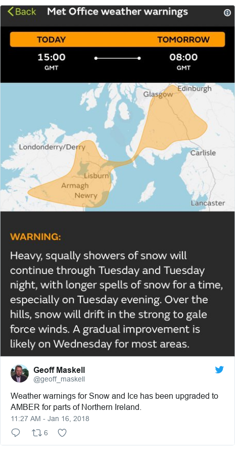 Twitter post by @geoff_maskell: Weather warnings for Snow and Ice has been upgraded to AMBER for parts of Northern Ireland.