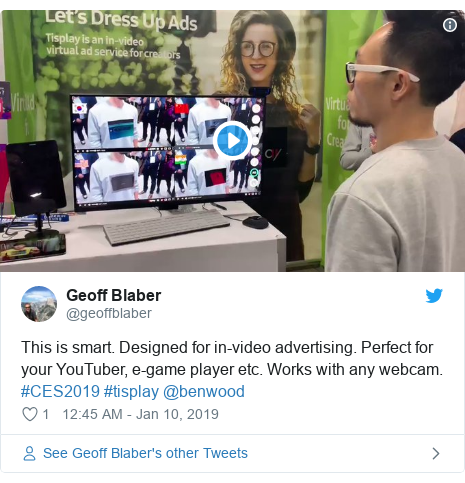 Twitter post by @geoffblaber: This is smart. Designed for in-video advertising. Perfect for your YouTuber, e-game player etc. Works with any webcam. #CES2019 #tisplay @benwood