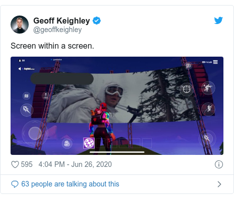 Twitter post by @geoffkeighley: Screen within a screen.