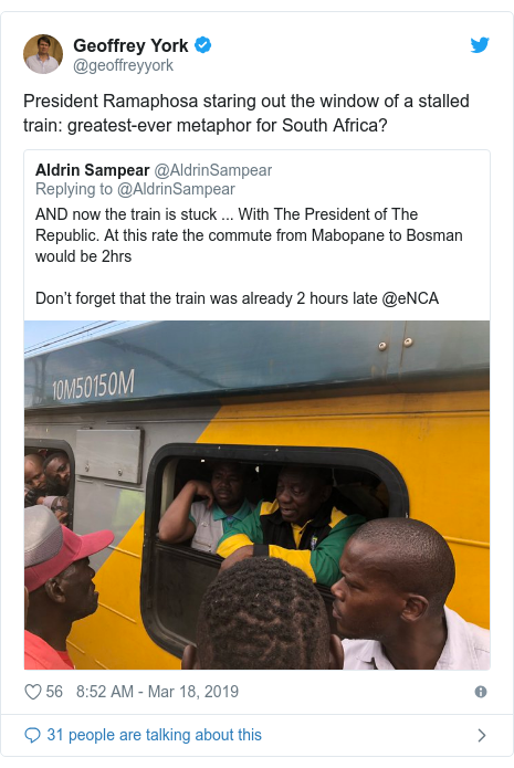 Twitter post by @geoffreyyork: President Ramaphosa staring out the window of a stalled train  greatest-ever metaphor for South Africa?