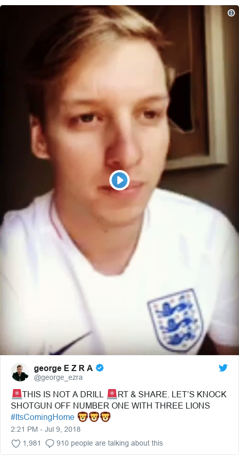 Twitter post by @george_ezra: 🚨THIS IS NOT A DRILL 🚨RT & SHARE. LET'S KNOCK SHOTGUN OFF NUMBER ONE WITH THREE LIONS #ItsComingHome 🦁🦁🦁