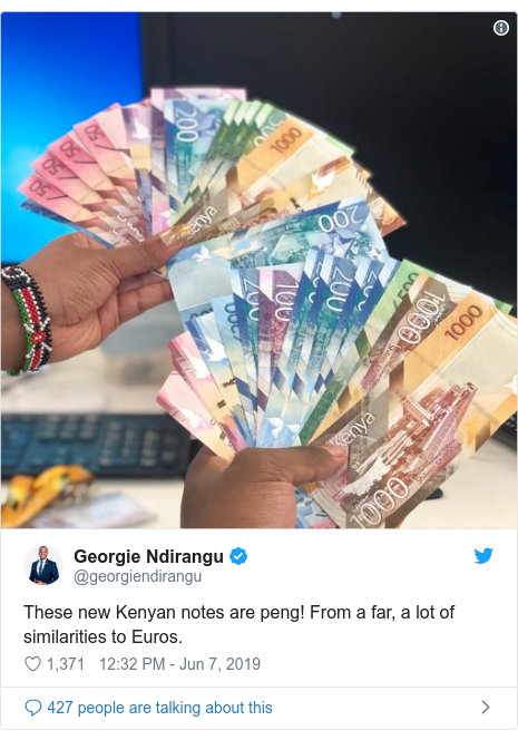 Twitter waxaa daabacay @georgiendirangu: These new Kenyan notes are peng! From a far, a lot of similarities to Euros.