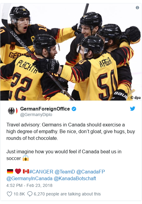 Twitter post by @GermanyDiplo: Travel advisory  Germans in Canada should exercise a high degree of empathy. Be nice, don't gloat, give hugs, buy rounds of hot chocolate.Just imagine how you would feel if Canada beat us in soccer 😱🇩🇪 ❤️ 🇨🇦#CANGER @TeamD @CanadaFP @GermanyInCanada @KanadaBotschaft