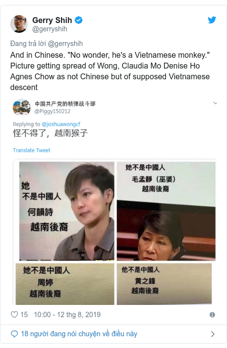 "Twitter bởi @gerryshih: And in Chinese. ""No wonder, he's a Vietnamese monkey."" Picture getting spread of Wong, Claudia Mo Denise Ho Agnes Chow as not Chinese but of supposed Vietnamese descent"