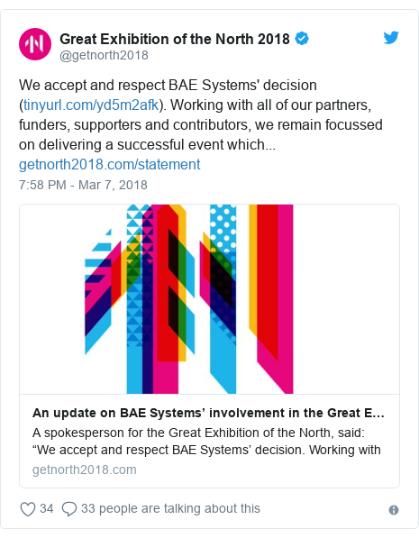 Twitter post by @getnorth2018: We accept and respect BAE Systems' decision (). Working with all of our partners, funders, supporters and contributors, we remain focussed on delivering a successful event which...