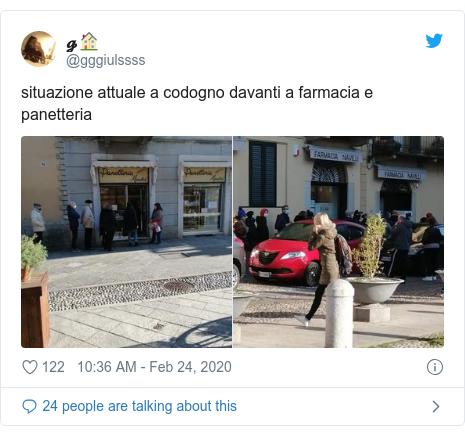 Twitter post by @gggiulssss: situazione attuale a codogno davanti a farmacia e panetteria