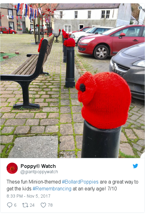 Twitter post by @giantpoppywatch: These fun Minion-themed #BollardPoppies are a great way to get the kids #Remembrancing at an early age! 7/10