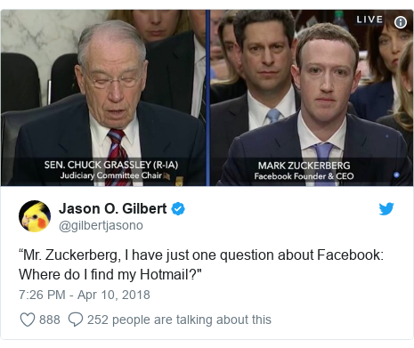 "Twitter post by @gilbertjasono: ""Mr. Zuckerberg, I have just one question about Facebook  Where do I find my Hotmail?"""